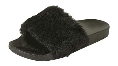 0b6b617d7cf H2K Women s Lora Faux Fur Lightweight Slide Slipper-Black (10 ...