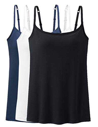 Womens Tank Tops Adjustable Strap Camisole with Built in Padded Bra Vest Cami Sleeveless Top for Yoga Daily Wearing 3 Packs XL (Black White Navy)