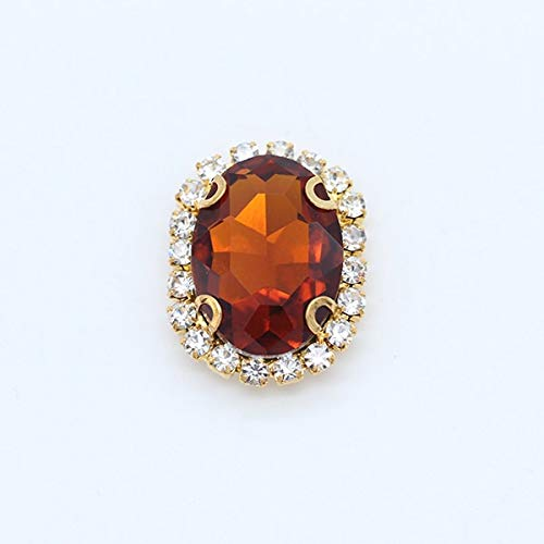 Pukido 9p 13x18mm Oval Color Glass Stone sew on Faceted Crystal Rhinestone Jewels Trim Beads Applique Gold Claw Buckle for DIY Clothes - (Color: red Coffee)