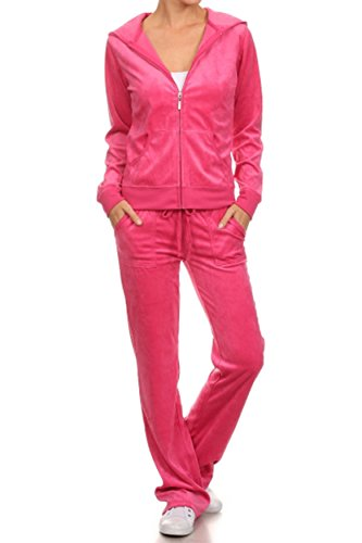 ViiViiKay Women's Soft Velour Tracksuit Athletic Zip Up Hoodie & Sweat Pants Set 001_FUCHSIA XL