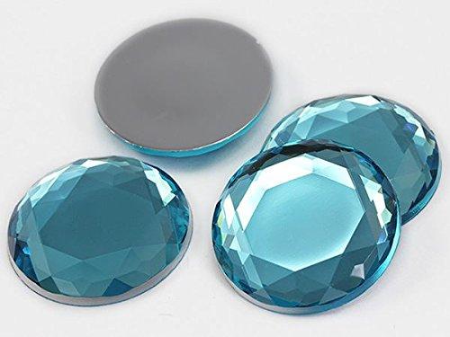 Large Blue Rhinestone - 30mm Blue Aqua H109 Large Flat Back Acrylic Rhinestones , Lead Free. High Quality Pro Grade - 6 Pieces