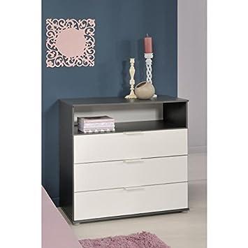 STANLEY Commode chambre enfant style contemporain décor blanc et ...