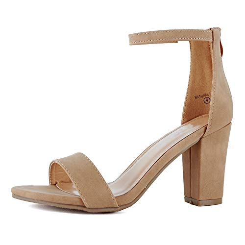 Womens Ankle Strap Chunky Block High Heel Zipper Closure - Party Dress Open Toe Sandals (8.5 M US, Tan ()