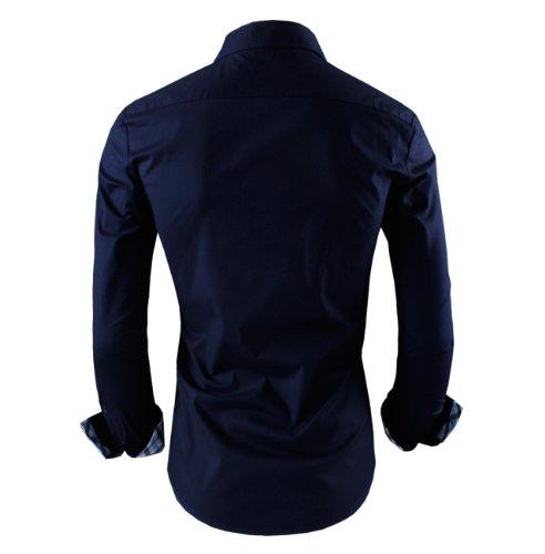 Tom's Ware Mens Premium Casual Inner Layered Dress Shirt TWNMS310S-NAVY-L( US S/M)