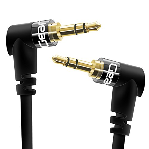 GearIT GI-35MM-DRA-BK-2FT Right Angle Gold Plated 3.5mm Auxiliary Audio Stereo Male to Male Cable - 2 Feet - Black