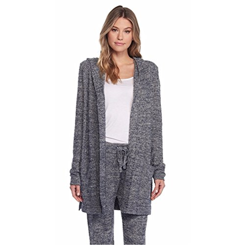 Barefoot Dreams CozyChic Lite Resort Cardi Heathered Indigo/Stone