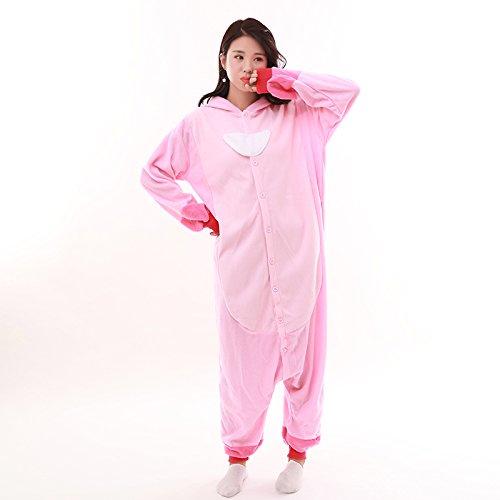 Unisex-adult Onesie Pajamas Kigurumi Stitch Animal Sleepwear for Halloween Party Costumes,Daily Cartoon Outfit(Pink,M)