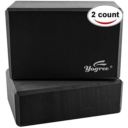 Yogree High Density EVA Foam Brick Yoga Block, (9 x 6 x 4) Inches - Black, 2 Piece ()