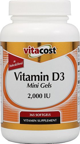 Vitacost Vitamin D3 (as Cholecalciferol) -- 2000 IU - 365 Softgel Mini Gels (Pack of 2) by Vitacost Brand