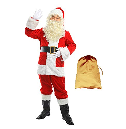 Deluxe Plush Santa Costumes - FlyGulls Santa Suit 10 PCS Set