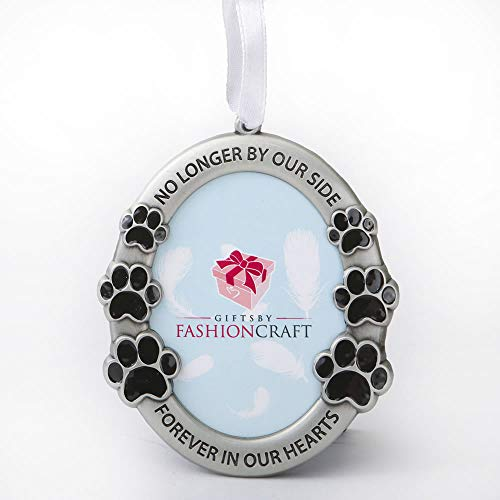 Fashioncraft Pet Memorial Ornament Departed Paw Prints Tombstone No Longer by Our Side Forever in Our Hearts Oval Metal Photo Frame Velvet Easel Back & Gift Box Table Top Remembrance Pewter Finish