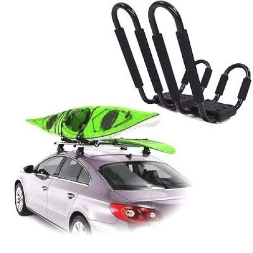Roof Rack Kayak Deluxe Carrier Boat Canoe Surf Ski Snowboard Top Mounted J-Bar Automotive Outdoor