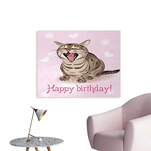 Tudouhoho Birthday Poster Paper Funny Cat Sings a Greeting Song on Pink Color Backdrop with Hearts Flowers Photographic Wallpaper Baby Pink Brown W28 xL20