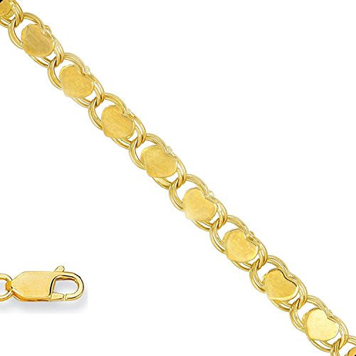 MCS Jewelry 14 Karat Gold Solid Heart Mirror Chain Bracelet OR Anklet (Length: 7
