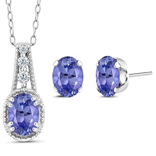 1.43 Ct Oval Blue Tanzanite 925 Sterling Silver Pendant Earrings Set by Gem Stone King