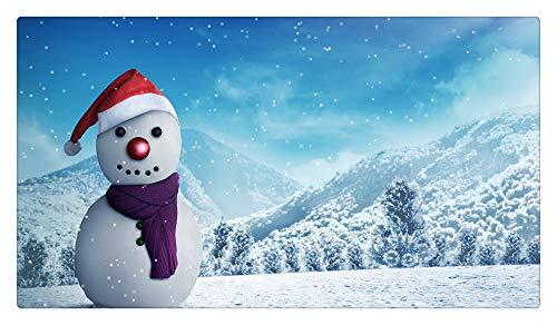 JANNINSE Happy Snowman Door Mat Front Door Mat Absorbs Muddy Shoes, Indoor/Outdoor Decorative Floor Mat, Entrance, Garage, Patio,Pet Paws, Wet Feet -