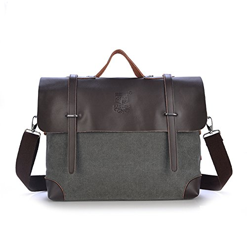 Freeprint Vintage Genuine Leather Canvas Business Messenger Bag Satchel Fit for 15.6 Inches Laptop, Grey