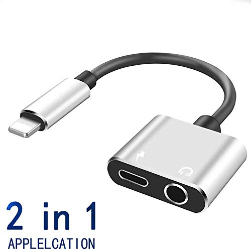 Headphones Adapter for iPhone 8/ X/XS MAX/XR/ 8 Plus/ 7/7 Plus for iPhone Charger 3.5mm Adaptor Jack Dongle Earphone Convertor 2 in 1 Music Charger Cables Charge + Audio Support iOS 12 ()