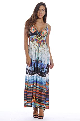 8858-60-M Just Love Maxi Dresses for Women  Summer Dresses, Scenes from Venice, Medium,Scenes from Venice,Medium
