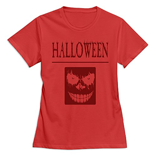 Maquic78h Women's Happy Halloween Day 100% Cotton O Neck T-Shirt Red US Size XXL -