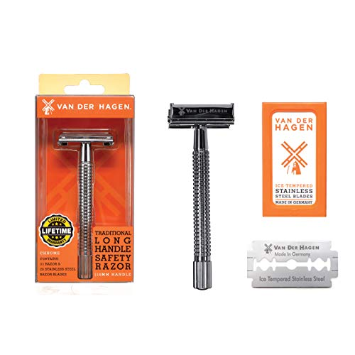 - Van Der Hagen Men's Traditional Safety Razor Kit - 110MM Grooved Handle Chrome Safety Razor for Ultimate Grip and Control with 5 (five) German-made Stainless Steel Blades