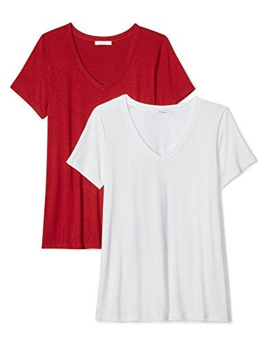 Daily Ritual Women's Jersey Short-Sleeve V-Neck T-Shirt, 2-Pack, XXL, White/Deep Red