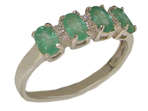 925 Sterling Silver Natural Emerald and Diamond Womens Wedding Band Ring - Size 8.5