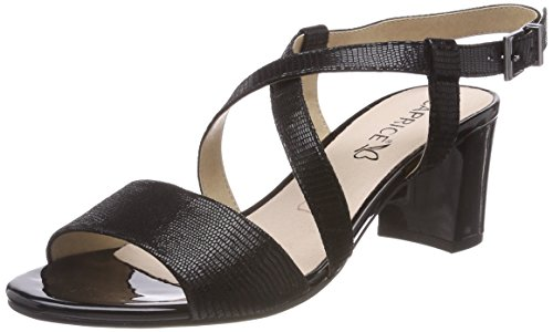 Caviglia Con 28300 black Alla Sandali Nero Donna 10 Reptile Cinturino Caprice qwEXZdAw