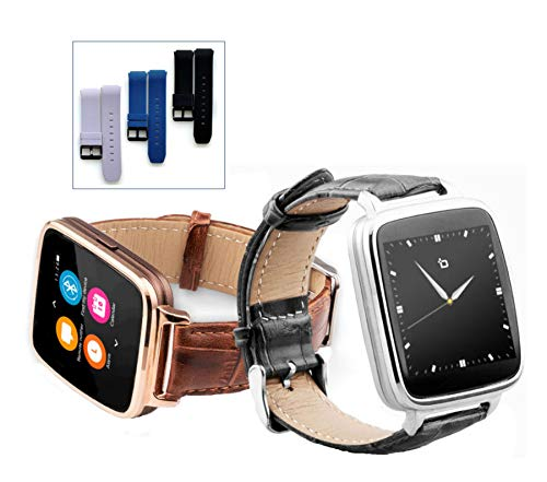(Beantech S1 Smart Watch for Apple/Android Phones. Gold with Brown Croc-Embossed Leather Strap with Bonus Black Silicone Strap)