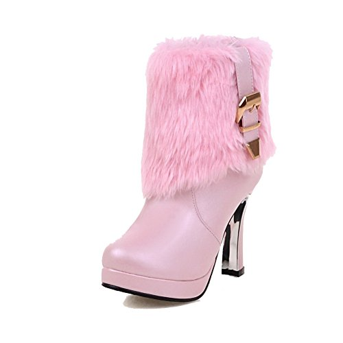 AgooLar Women's Solid PU High-Heels Pull-on Round Closed Toe Boots Pink