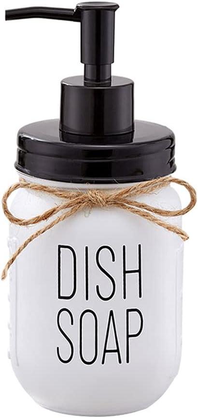 White Glass Mason Jar Dish Soap Dispenser with Black Plastic Pump and Lid - 16 Ounce Farmhouse Glass Mason Jar - Rust Proof - Rustic Kitchen Sink Countertop Home Decor
