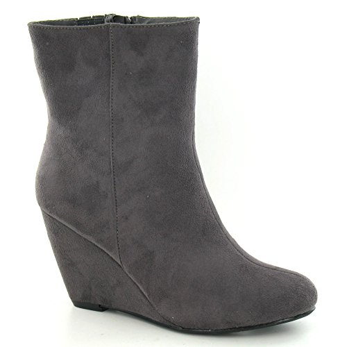 41 Size On Spot Womens High Brown US UK EU 8 Microfibre Size 10 Ankle Size Boot Dark Wedge F50029 HZ64wq6