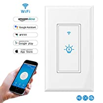 Smart Light Switch,LYASI In-wall Wi-Fi Switch Wireless Light Switch Compatible with Alexa and Google Home,No Hub Required,Timing Function,Overload Protection,Control Your Fixtures From Anywhere