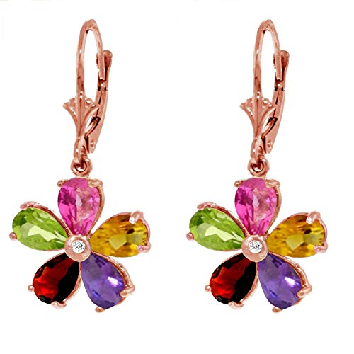 Galaxy Gold 14k Solid Rose Gold Leverback Flower Earrings with Multi-Gemstones