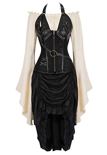 Zhitunemi Women Steampunk Corset Dress Medieval Peasant Chemise Costume Victorian Saloon Girl Dresses Black 5X-Large -