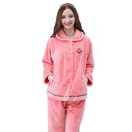 ALUK-Otoño y el invierno de espesor de terciopelo coral cardigan pijama de manga larga casa