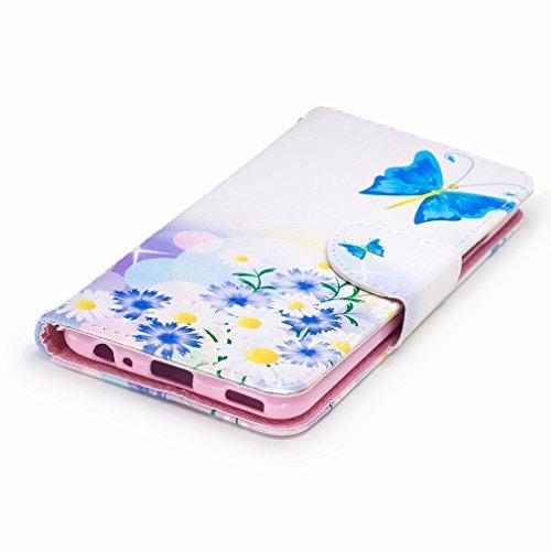 Yiizy Huawei P10 Custodia Cover, Farfalla Blu Design Sottile Flip Portafoglio PU Pelle Cuoio Copertura Shell Case Slot Schede Cavalletto Stile Libro Bumper Protettivo Borsa