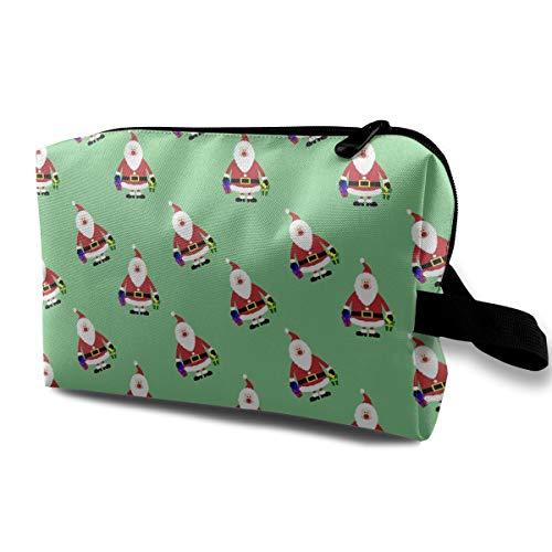 (Mintslove Women's Santa Claus Clipart Travel Hanging Toiletry Bag Portable Travel Kit Shaving Bathroom Storage Bag Waterproof Cosmetic Organize)