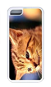 iPhone 5C Case, Personalized Custom Rubber TPU White Case for iphone 5C - Cat Cover