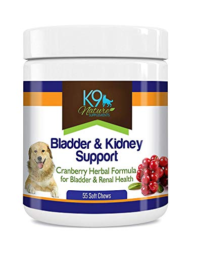 K9 Bladder Support for Dogs - Cranberry Urinary Tract Dog UTI Treats Incontinence Control Pills - no More Antibiotics Medicine for Infection Treatment - Kidney Supplement 55 Chews Senior Vitamins ()