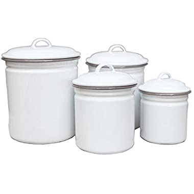 Enamelware 4 Piece Canister Set - Solid White with Grey Rim