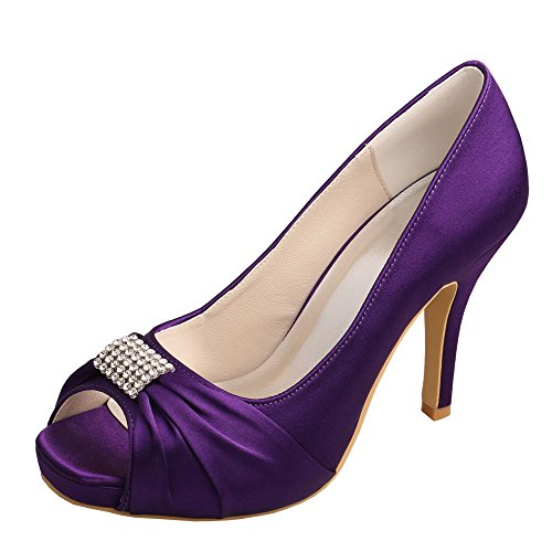 Wedopus Bridal Wedding Platform Evening High Rhinestone Satin MW1600 Square Toe Shoes Heel Purple Women's rqnR1twrg6