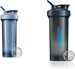 BlenderBottle Shaker Bottle Pro Series Perfect for Protein Shakes and Pre Workout, 32-Ounce, Pebble Grey & Pro45Extra Large Shaker Bottle, Grey/Blue, 45-Ounce