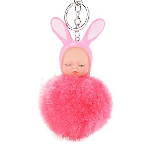 Bravetoshop Cute Rabbit Ears Baby Doll Fur Ball Keychain Pendant Women Bag Key Ring Holder Pompoms Multicolor Gift Easter(Watermelon -