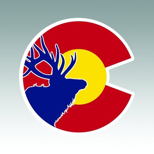 RDW Colorado State Flag Elk Sticker - Die Cut - Decal CO hunter hunting native archery hunter 3.90