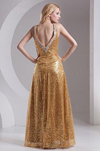 ueber A Linie Rueckenschnuerung Gold BRIDE Kleid GEORGE Paillette ueber und mit Sexy Eqwg4Ix5