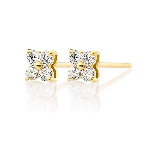 Unique 18k gold diamond earrings 0.1ct diamond earrings rose gold earrings for ladies birthday gift present stud earrings for women