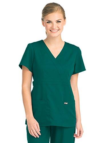 Hunter Green Three Pocket (Grey's Anatomy 4153 Women's Mock Wrap Top Hunter Green M)