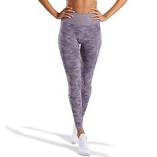 WodoWei Women's High Waisted Camo Seamless Leggings 7/8 Length Workout Yoga Pants (W426-lavender Grey-L)