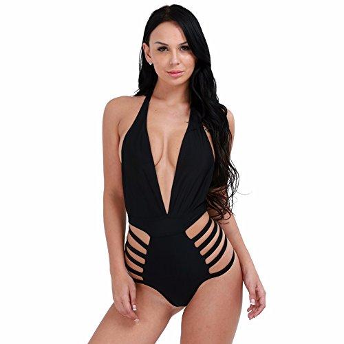 iiniim Bañadores Deportivas De Mujeres Halter Traje De Baño Monokini Traje de Baño de Una Pieza Push Up Bikini Negro